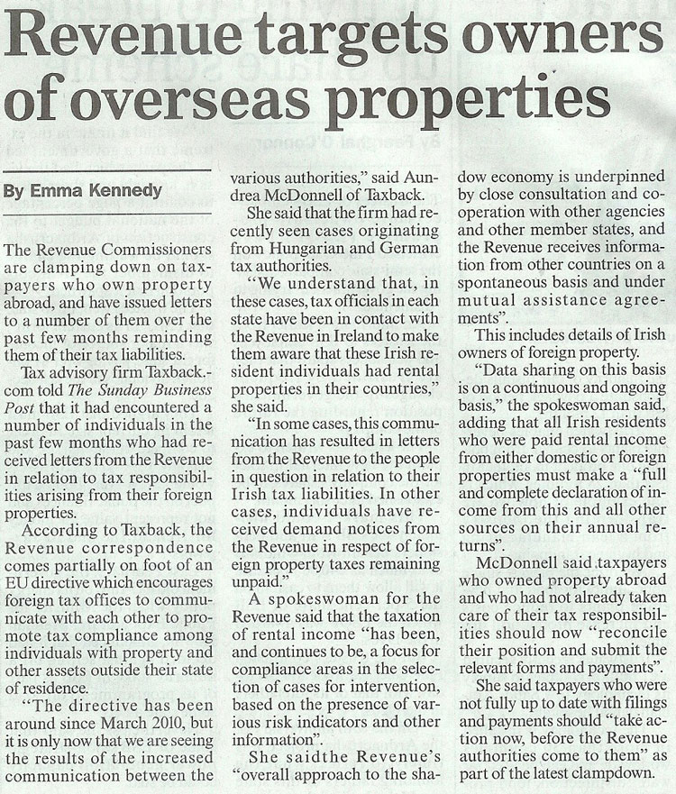 Sunday Business Post article on  Overseas Property Owners September 9th 2012