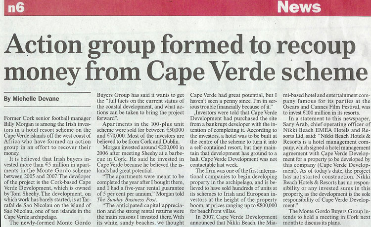 Monte Gordo Buyers Group in Sunday Business Post
