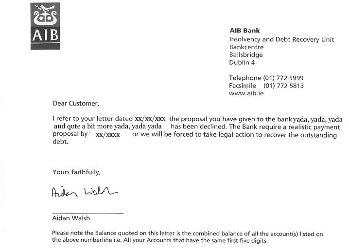 Aidan Walsh AIB Threatening Letter