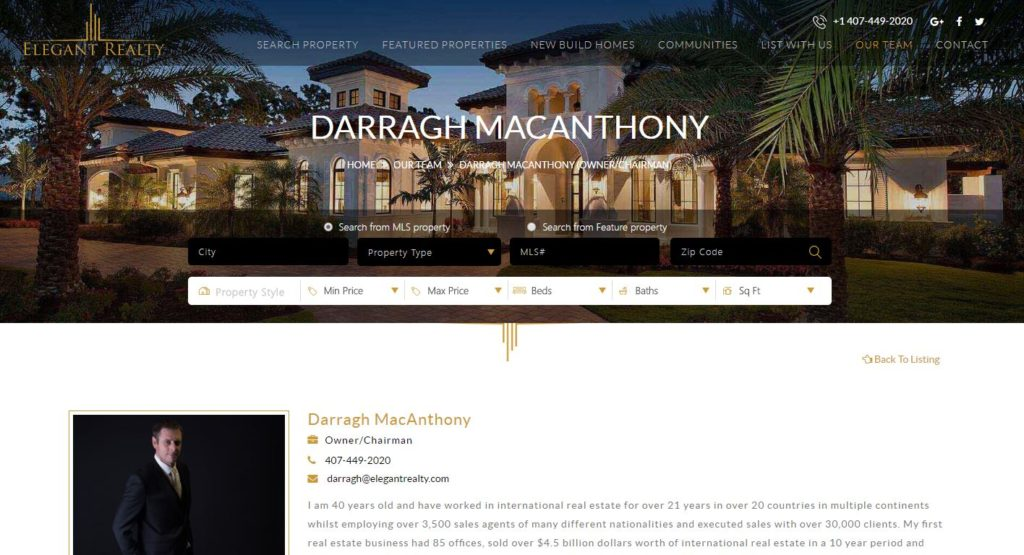 Darragh MacAnthony, Elegant Realty, Florida