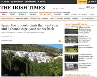 Irish Times Spanish Property Deposit Reclaim Article