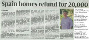 Sunday Times Spanish Property Deposit Recovery Feature