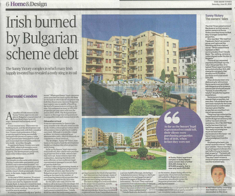 Sunny Victory, Bulgaria, Irish Times Feature