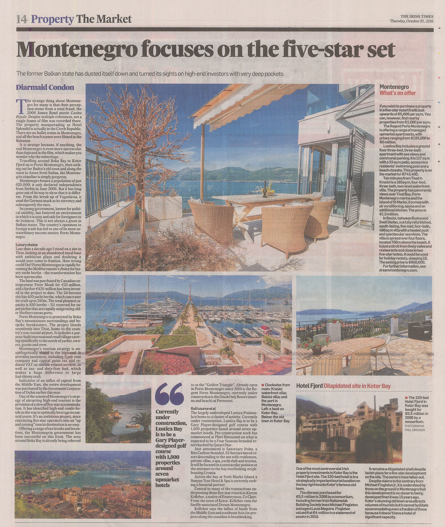 Montenegro Article in Irish Times